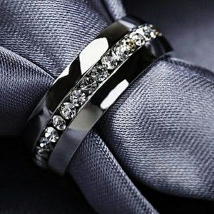 Stainless Steel Silver Plated Zircon Ring